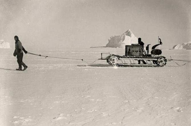 Competition (Scott) had the best technology and much more capital. He did not win. Here with his cool and innovative motorized sled, that were not tested in the ice-cold climate and never came to any real use.