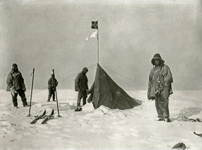 Amundsen as the first man ever to the South Pole December 14th, 1911 was a triumph. Scott also reached the South Pole five weeks later, only to find the Norwegian flag well planted, and even some extra food supplies for him. Because of the much longer time used than planned for, he, unfortunately ran out of food supplies and none of his expedition members made it home.