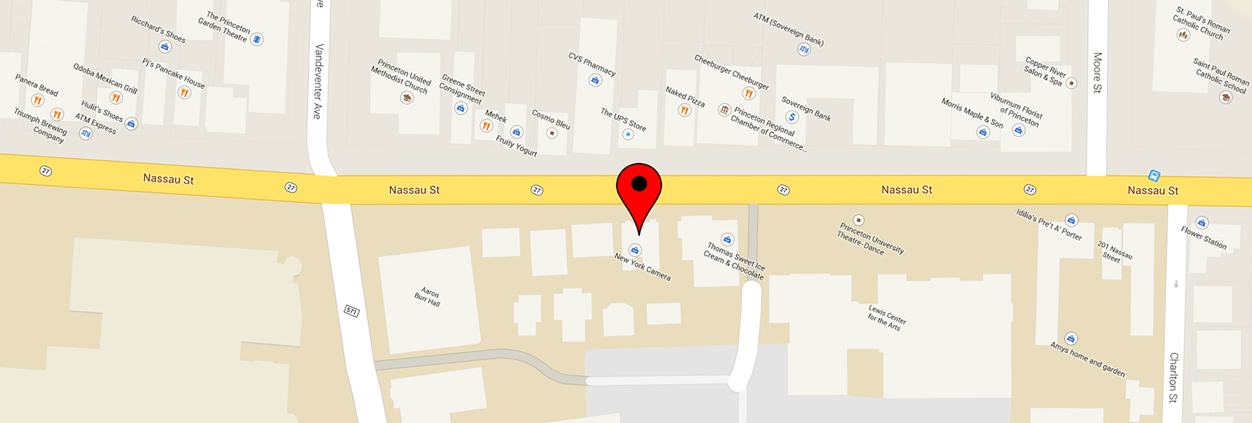 Located in the Princeton Shopping District at 173 Nassau St.- Plenty of on-street and off-street metered parking available ( click on MAP PIN to redirect to google maps page )