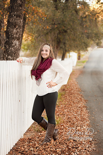 Teen girl leaning on fence - Redding CA Photographer - Dani D Photography