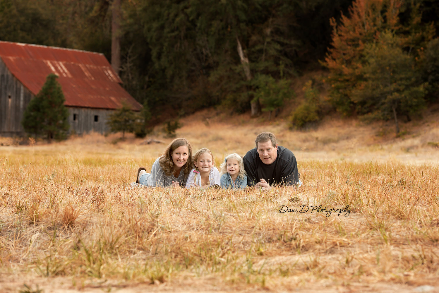 Family in field with barn - Redding CA photographer - Dani D Photography