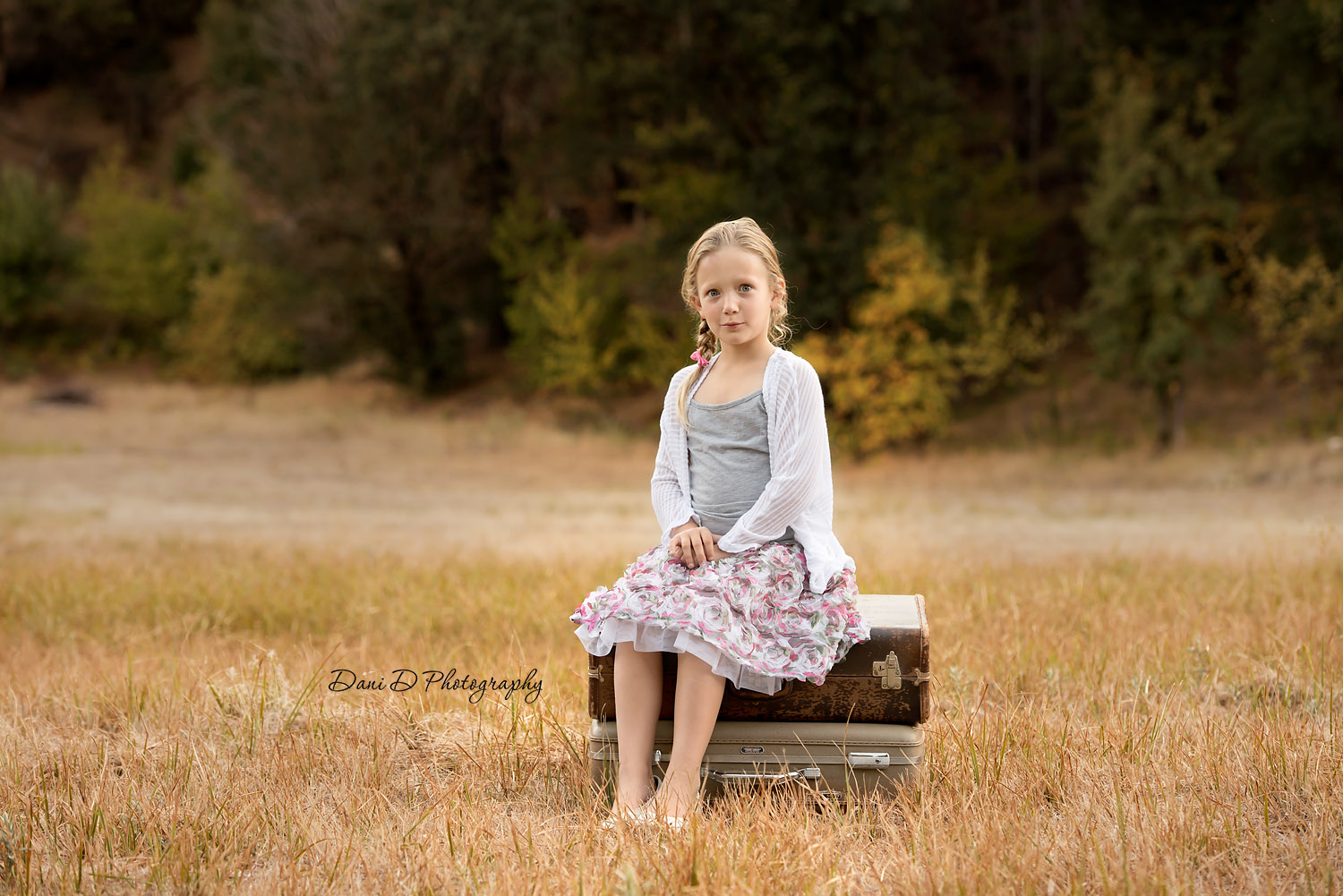young girl in a field on suitcases - Redding CA photographer - Dani D Photography