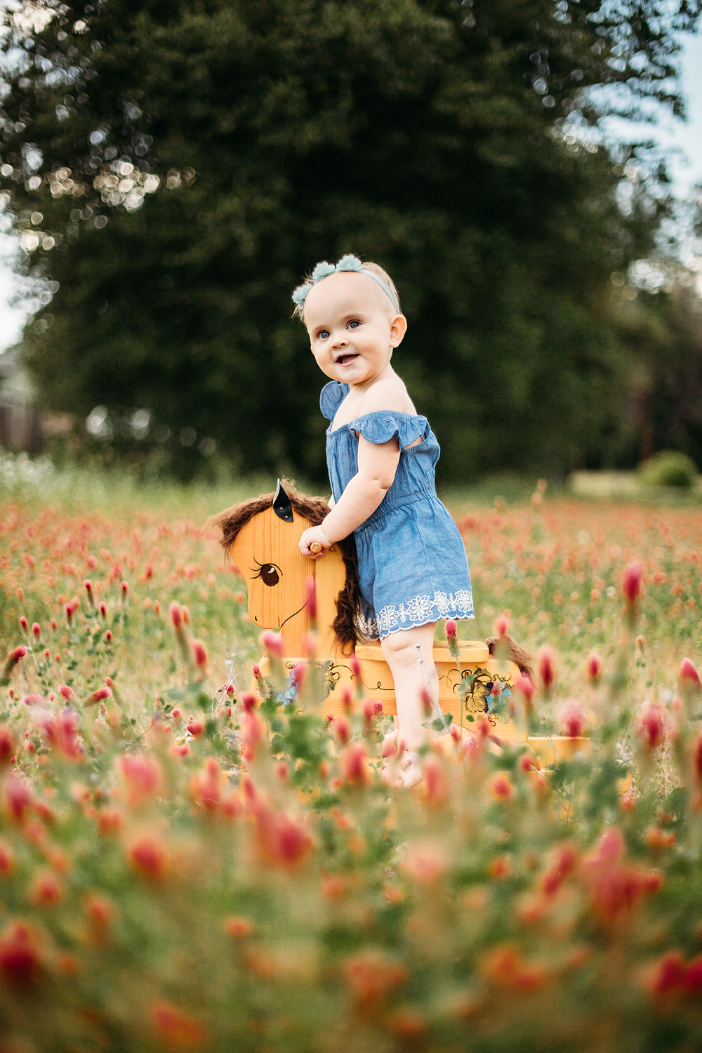 Little girl on a rocking horse in flowers - Redding CA Family Photos