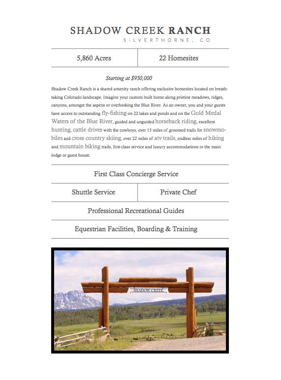 Shadow Creek Ranch Brochure , courtesy  Colorado Ranch Company  (click image above to download brochure).