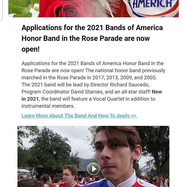 Applications for the 2021 Rose Bowl Honor Band are now open.  https://www.musicforall.org/what-we-do/tor-honor-band/tor-honor-band  Shout-out to Bentonville Alum, former Rose Bowl Honor Band Participant and All American Marching Band Member Ethan Andrews for gracing the video.