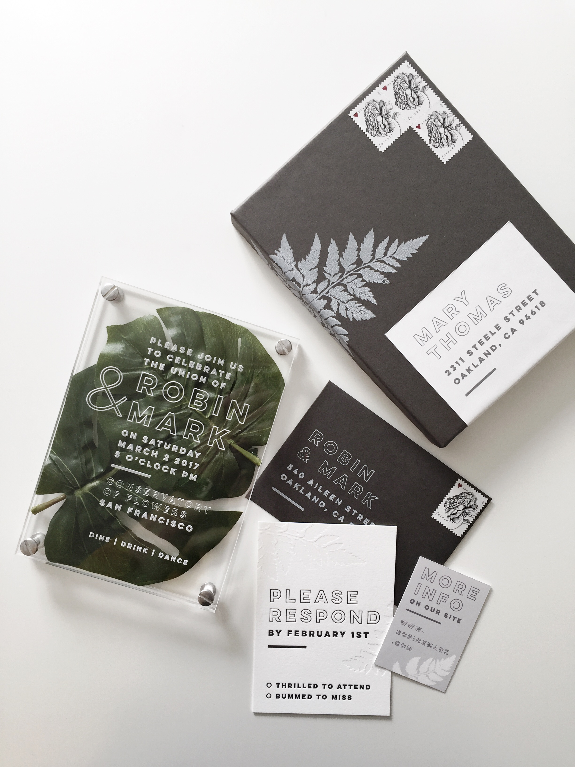 Acrylic Invitation Suite by Bowerbird Atelier