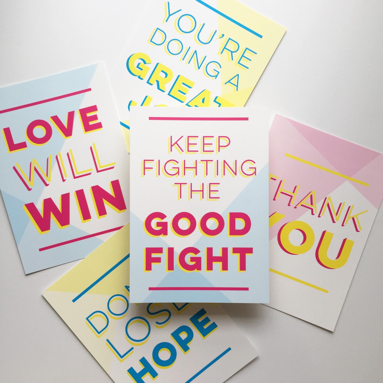 CMYK Encouragement Postcards by Bowerbird Atelier