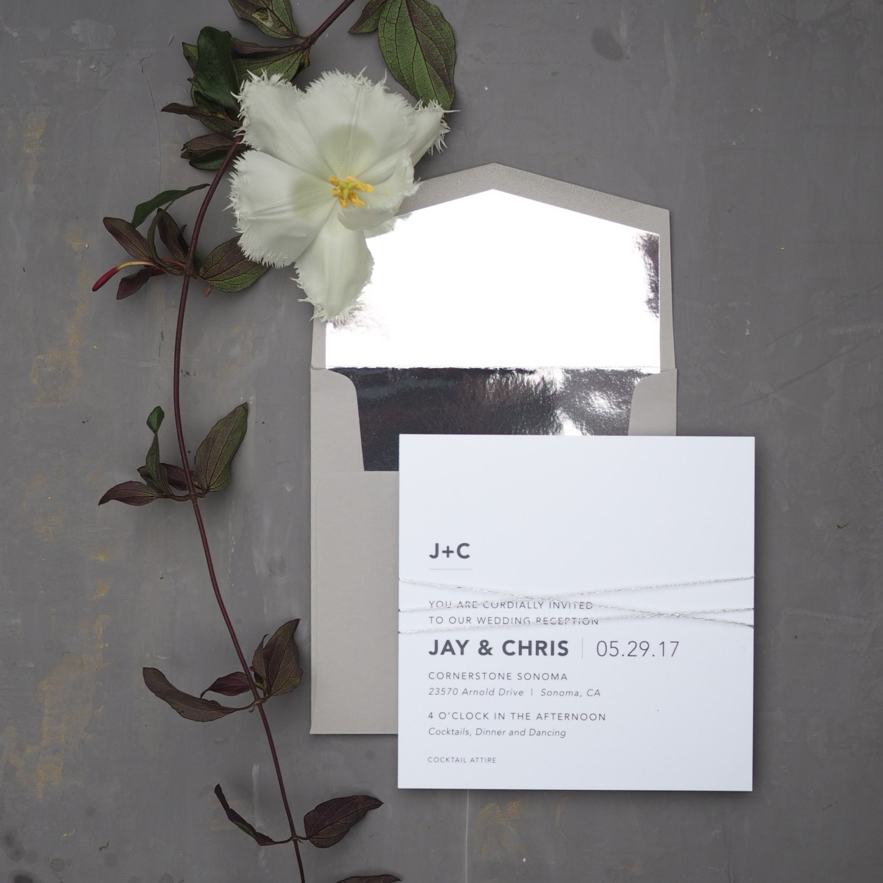 Invitation Suite with Mirror Envelope Liner by Bowerbird Atelier