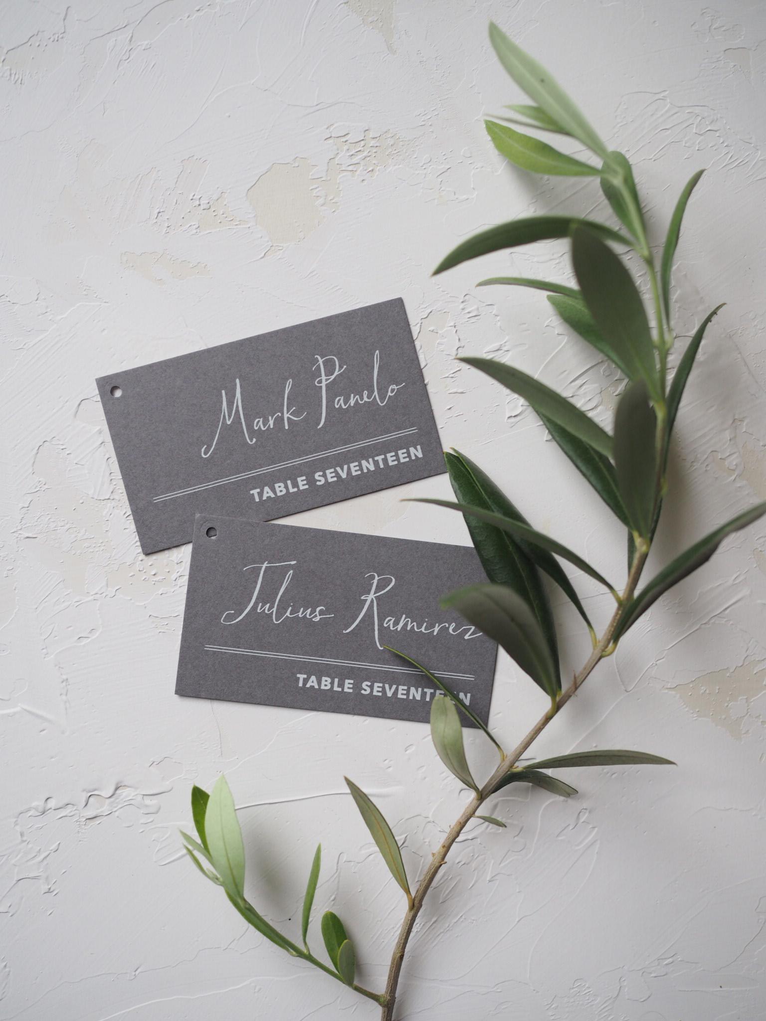 White Ink Escort Cards by Bowerbird Atelier