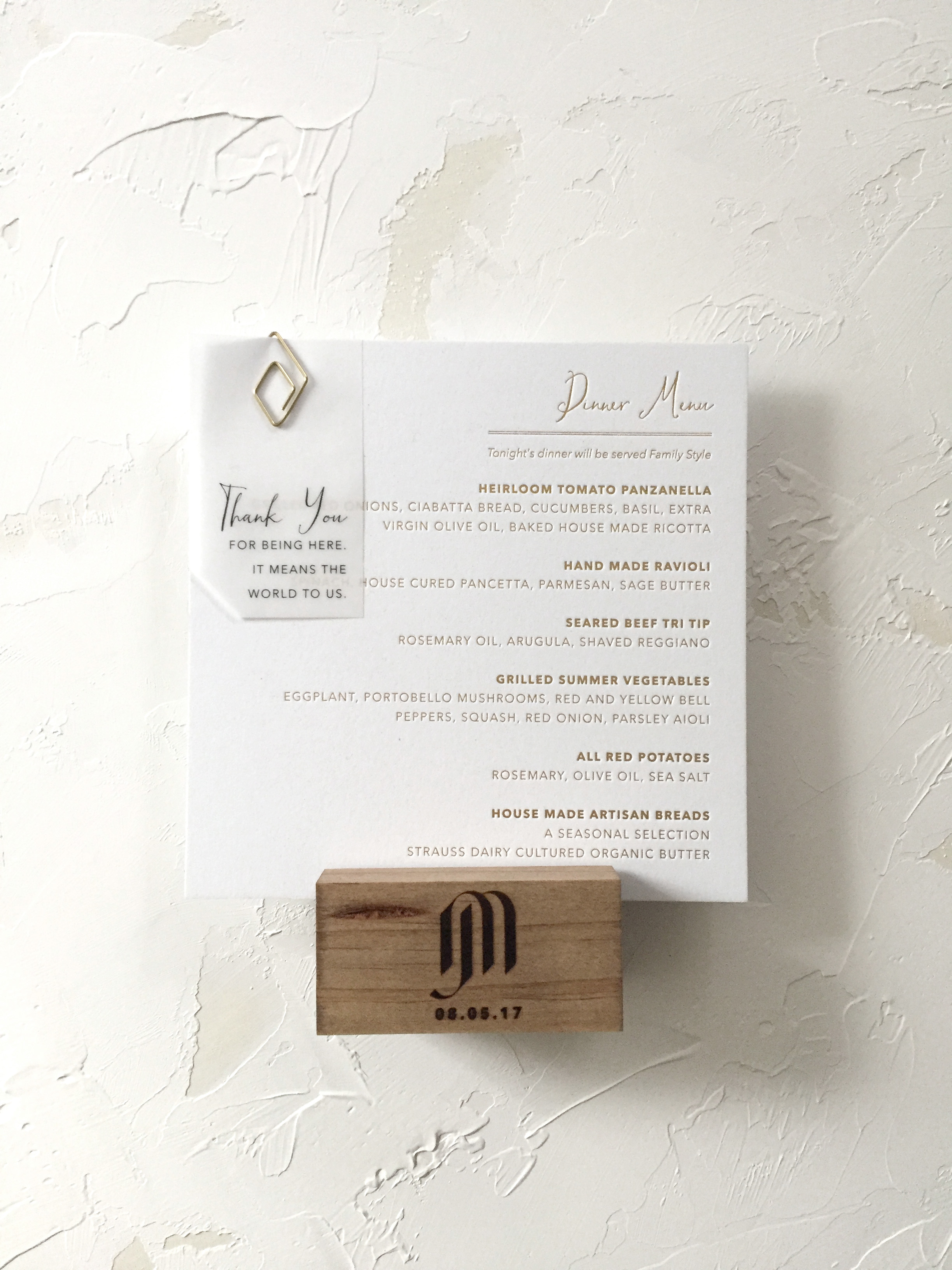 Gold Foil Menu with Branded Wood Stand by Bowerbird Atelier