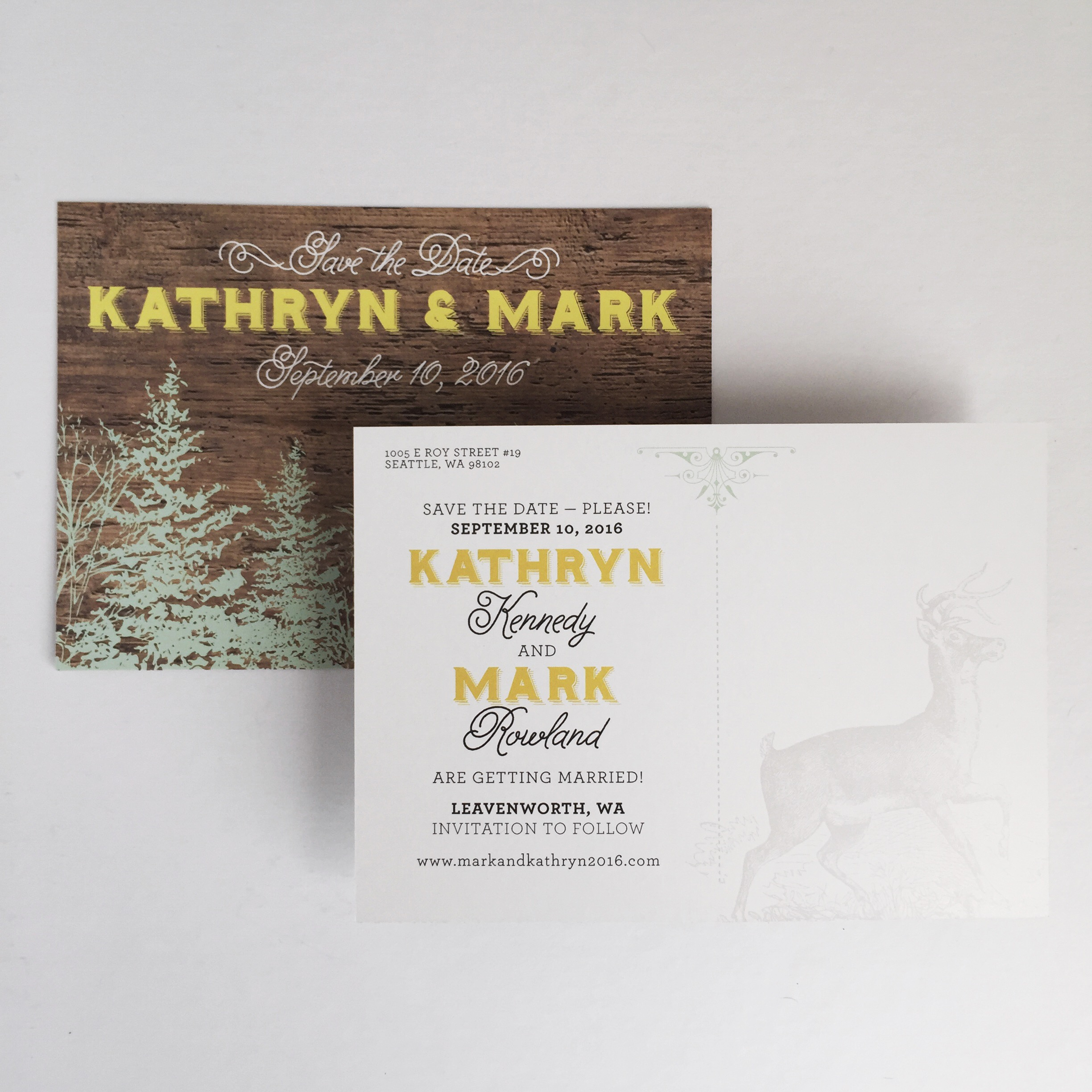 Rustic Save the Date Postcard by Bowerbird Atelier