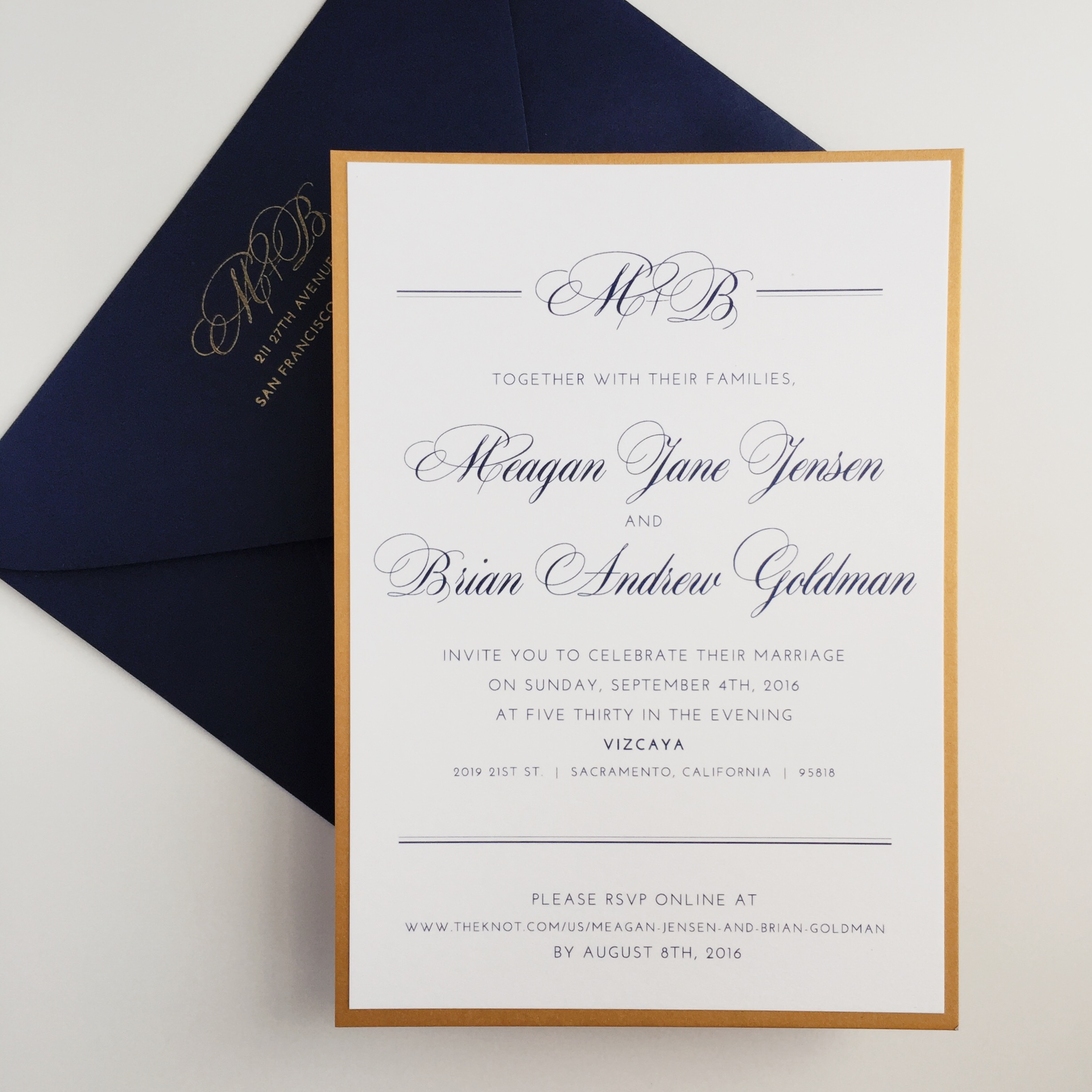 Gold and Navy Invitation by Bowerbird Atelier
