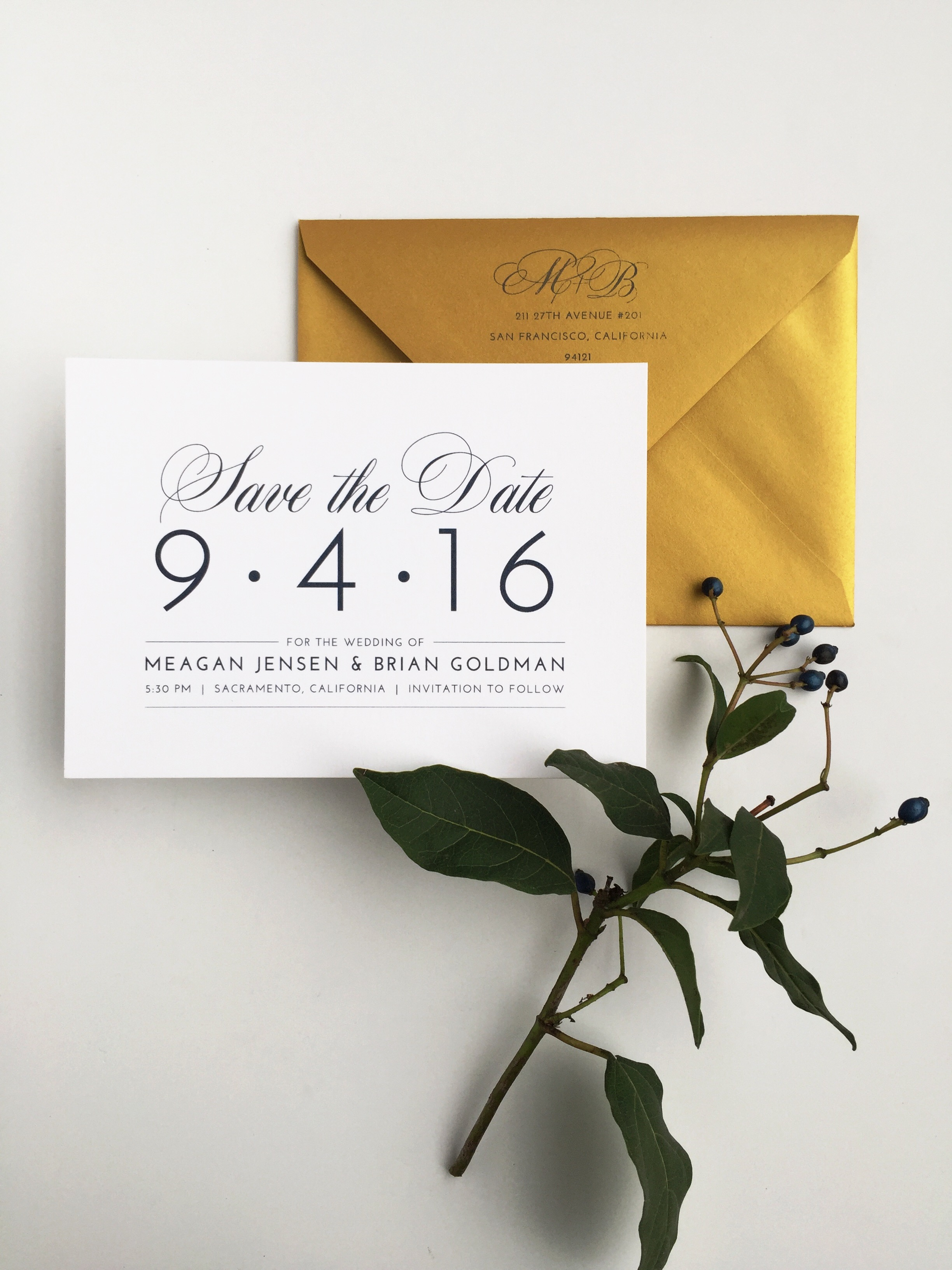 Gold and Navy Save the Date by Bowerbird Atelier