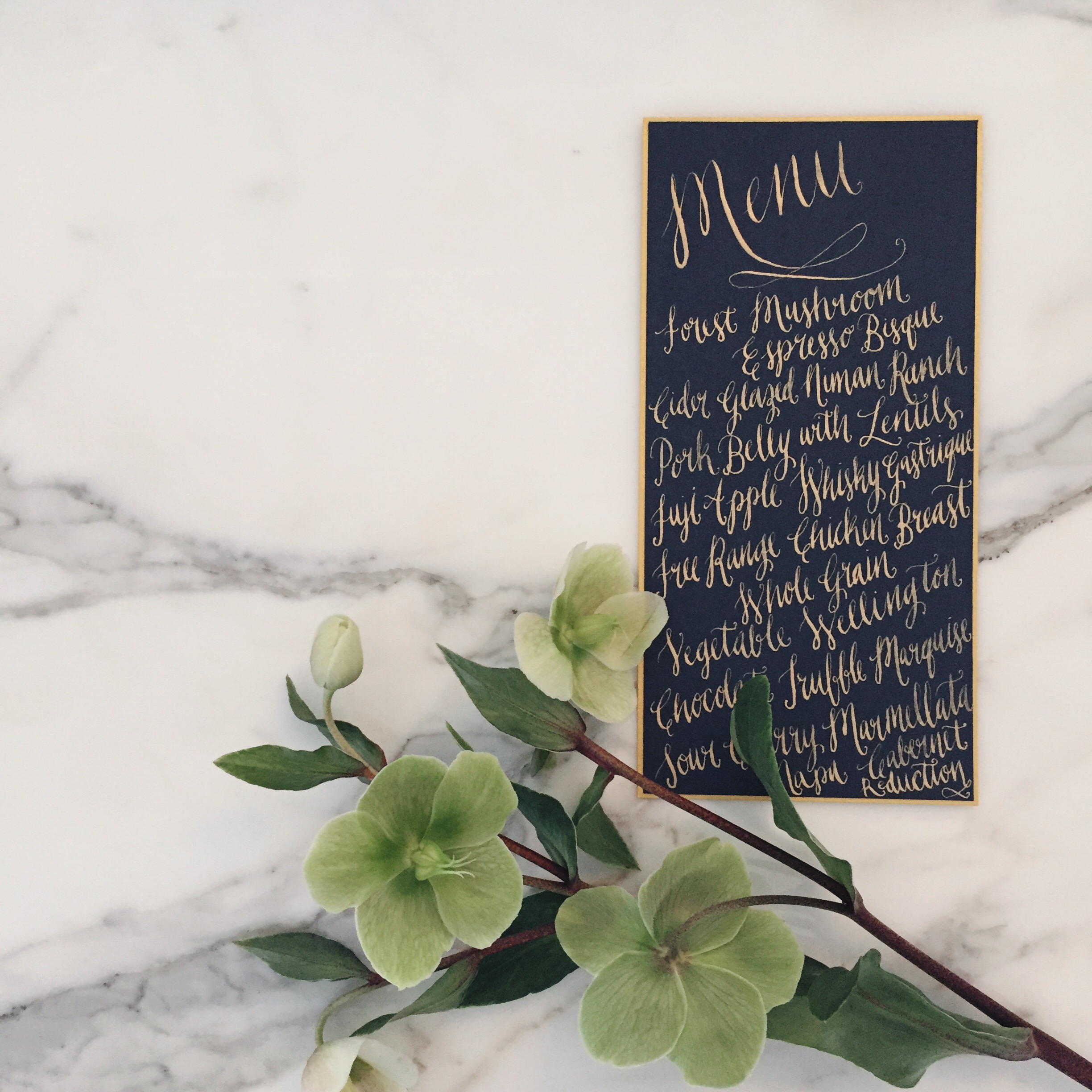 Gold and Navy Calligraphy Menu by Bowerbird Atelier