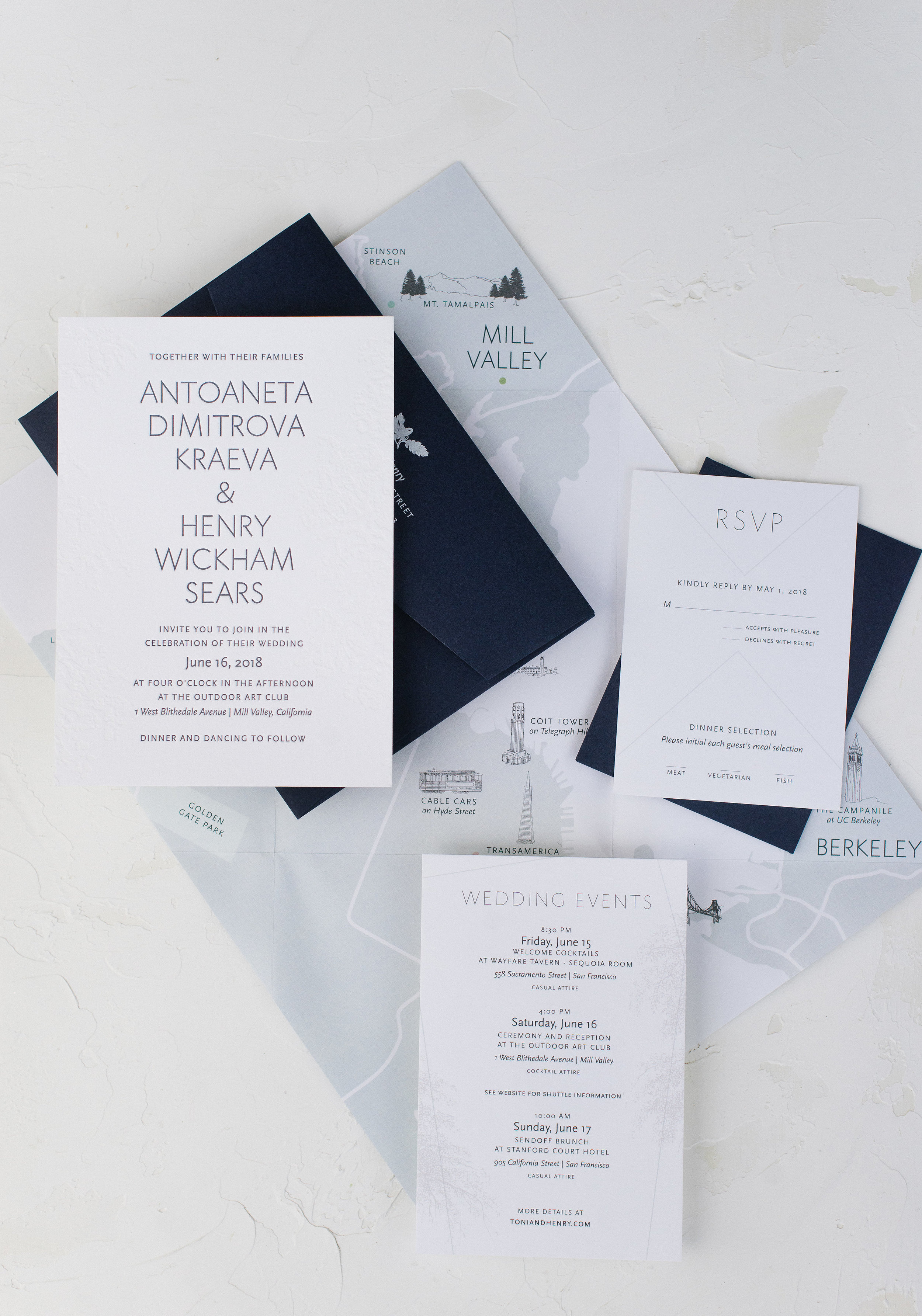 Invitation Suite by Bowerbird Atelier with Custom Map
