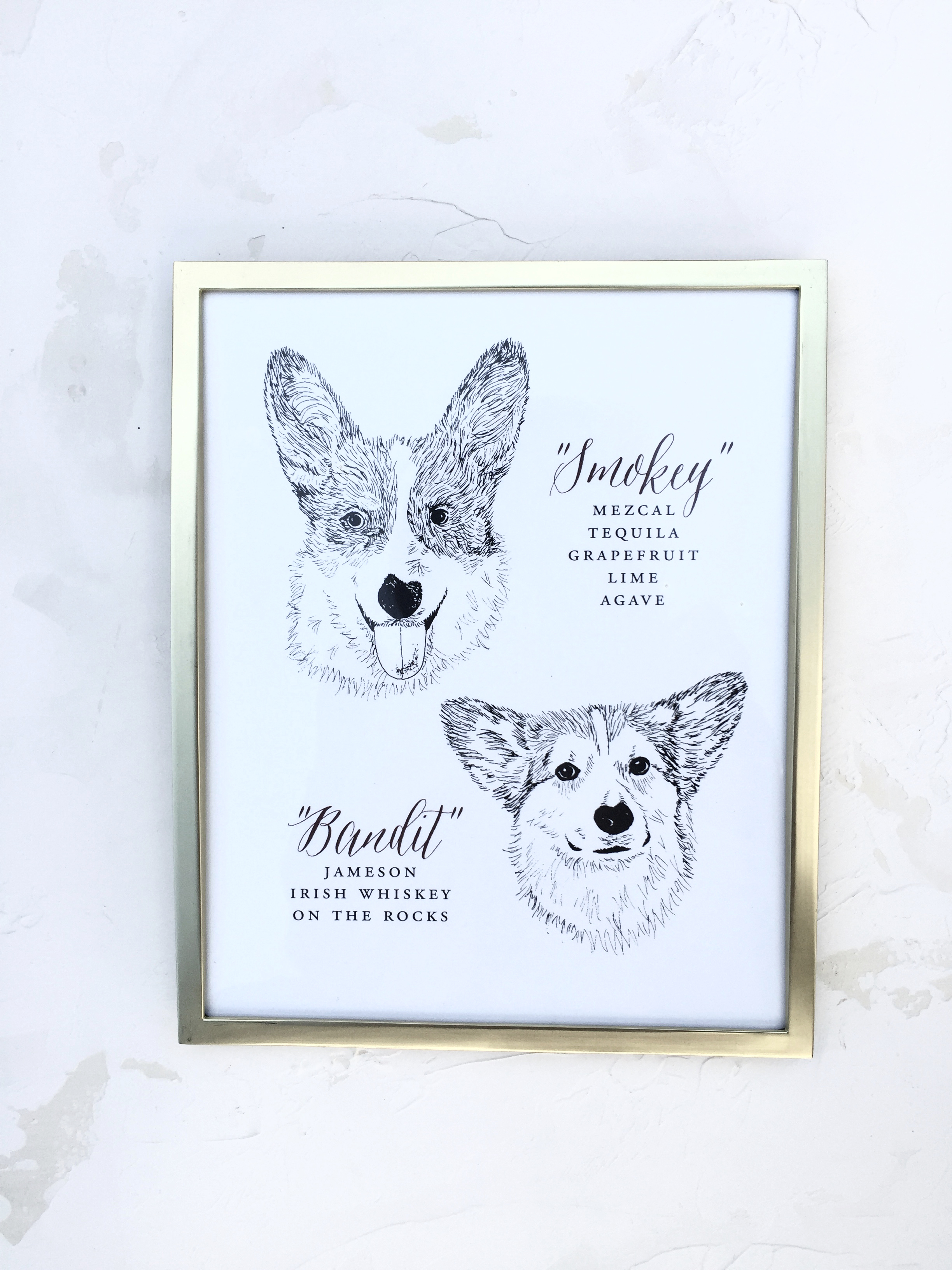 Bar Sign with Custom Dog Illustrations by Bowerbird Atelier