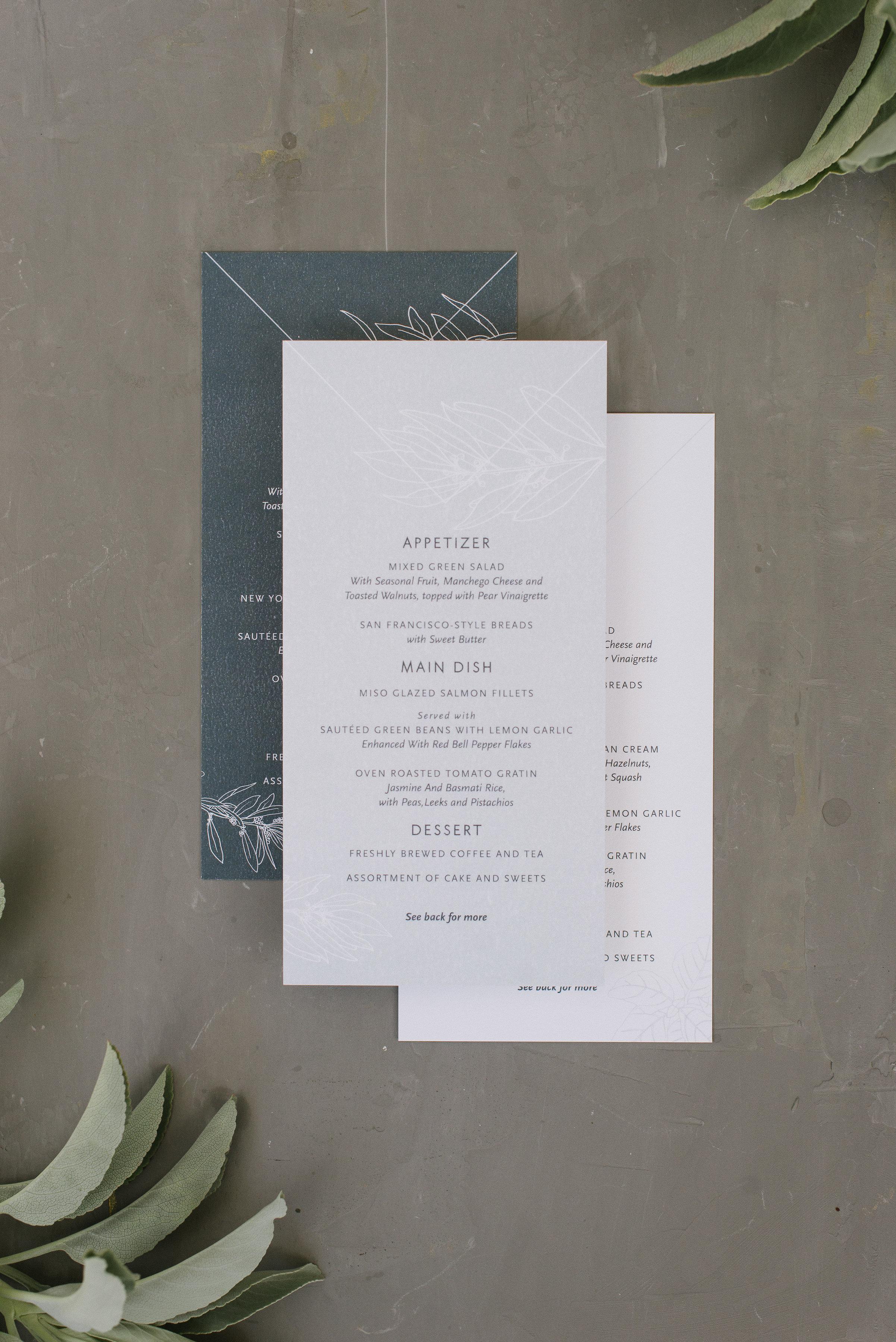 Custom Wedding Menus by Bowerbird Atelier