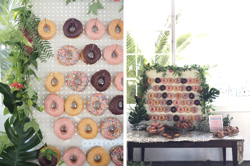 Donut Display by  Johnny Donuts  | Floral by  Aqua Floral Design