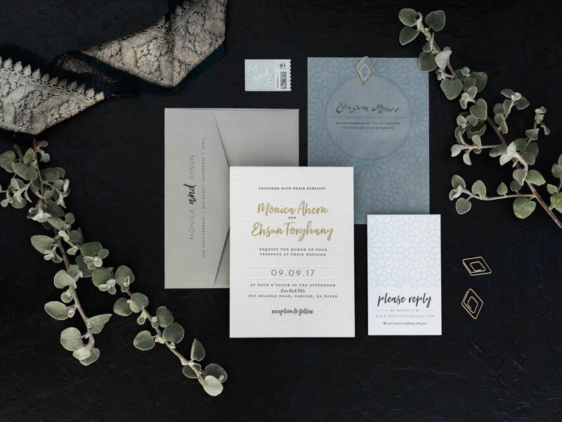 Letterpress and Foil Stamped Wedding Invitation with Printed Vellum Overlay and Modern Geometric Paperclip by Bowerbird Atelier // Photo by  Photoflood Studio
