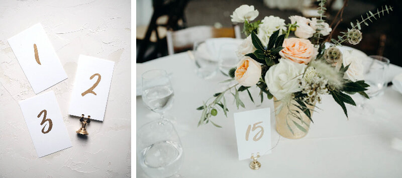 Gold Table Numbers by Bowerbird Atelier // Right Photo by  Phil Chester