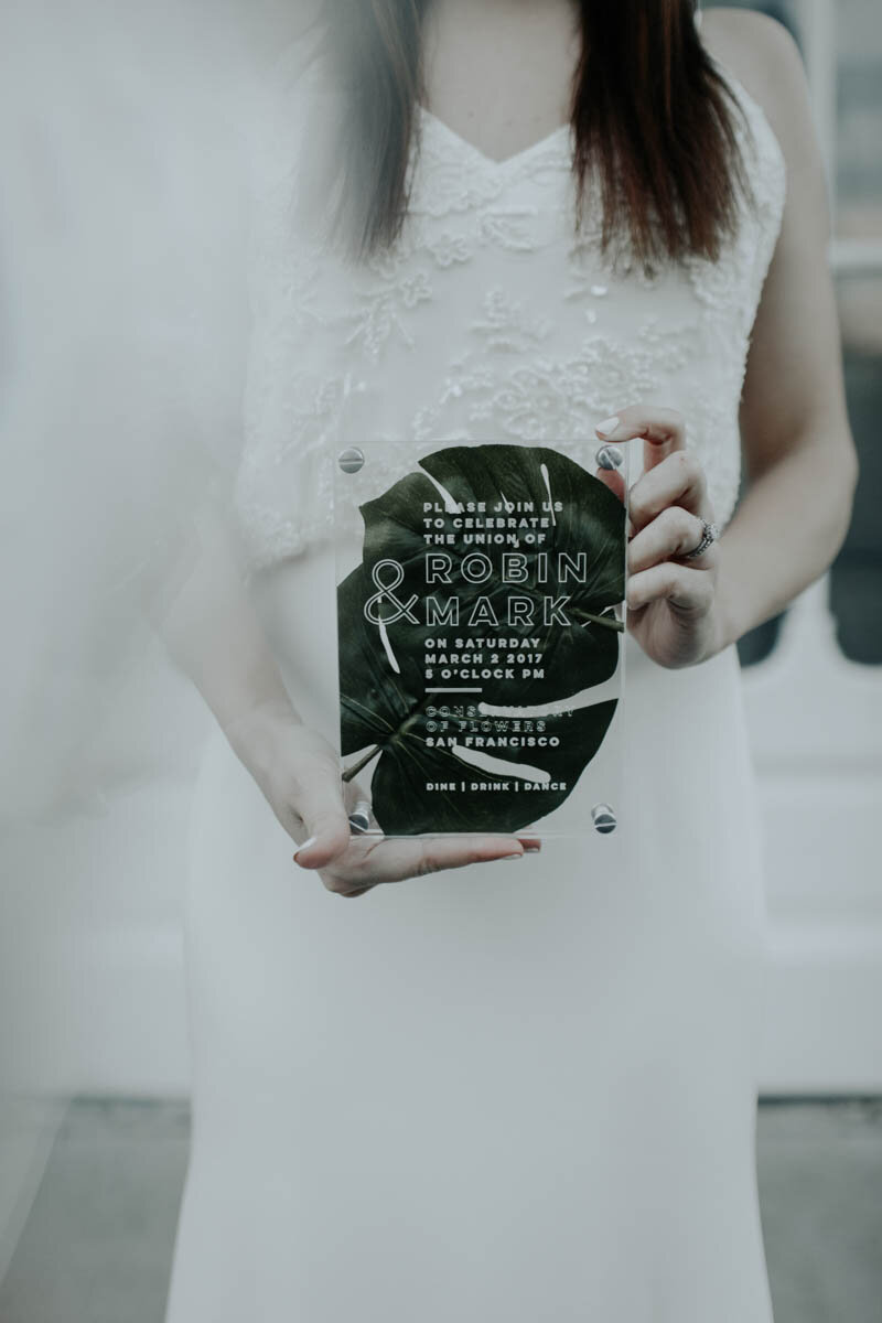 Etched acrylic Pressed Botanical Invitation by Bowerbird Atelier   Photo by Rachel Wakefield