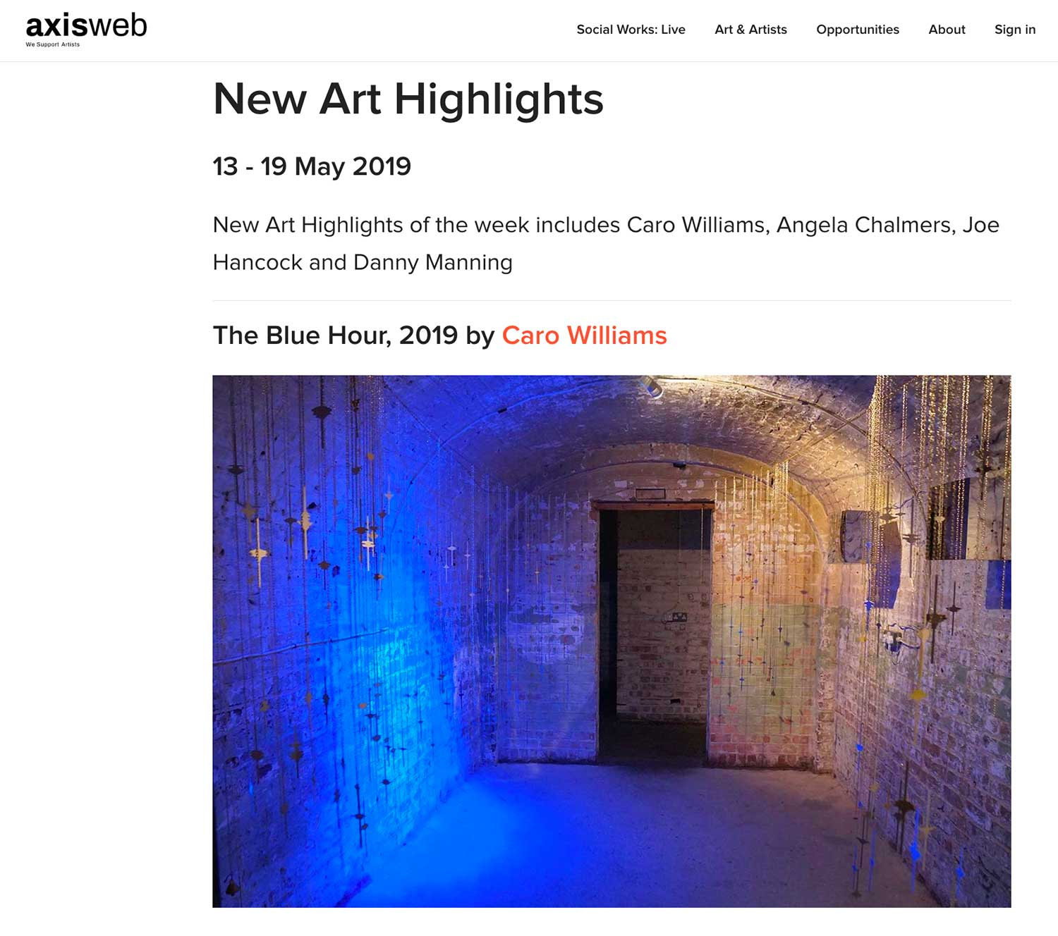 Delighted that The Blue Hour has been selected selected for inclusion in Axisweb's weekly 'Highlights' section.   https://www.axisweb.org/highlights/2019/new-art-highlights-13-19-may/