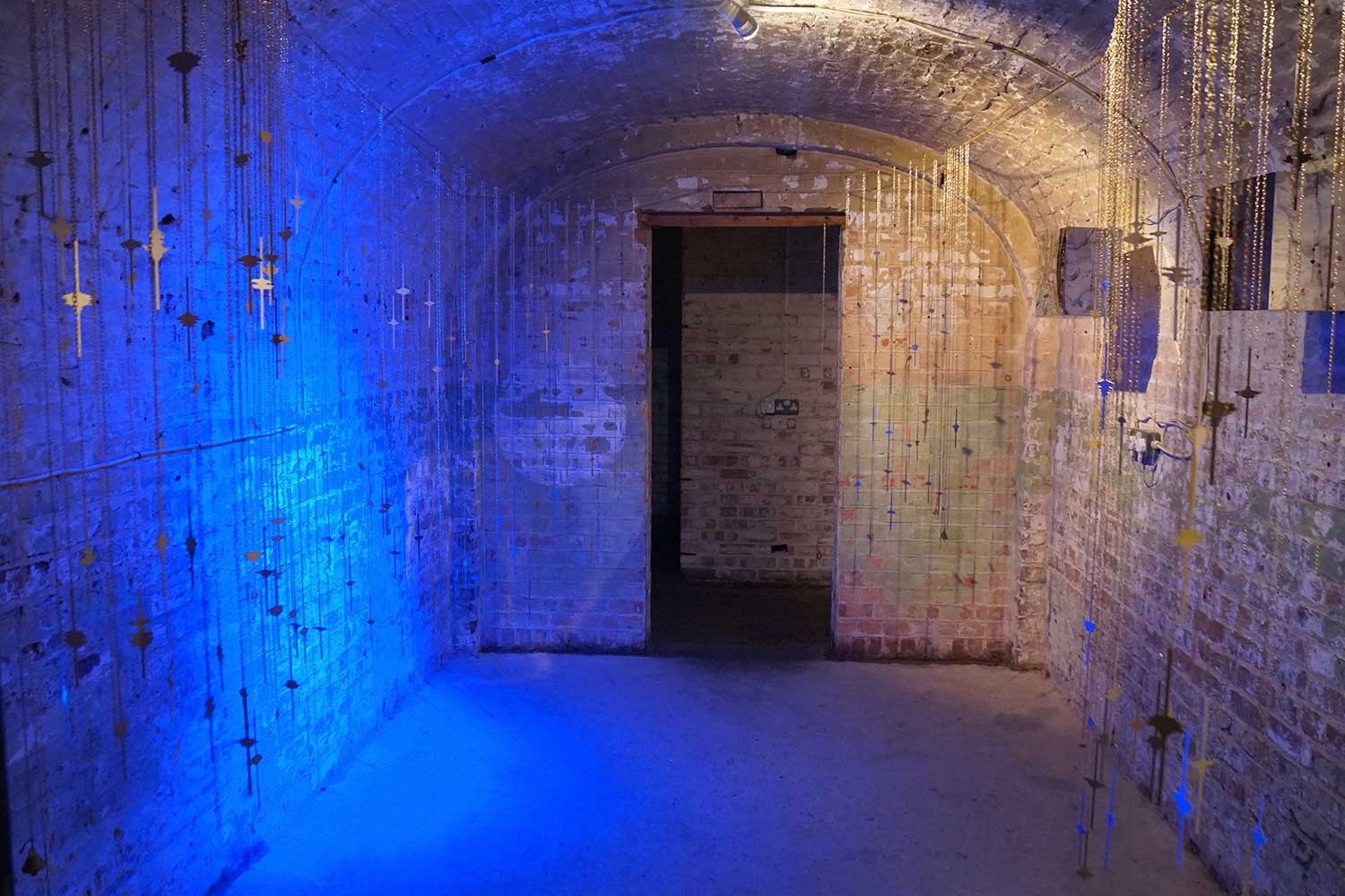 The Blue Hour (2019) A mixed media installation by Caro Williams Contemporary Art + Ritual, Crypt Gallery, London
