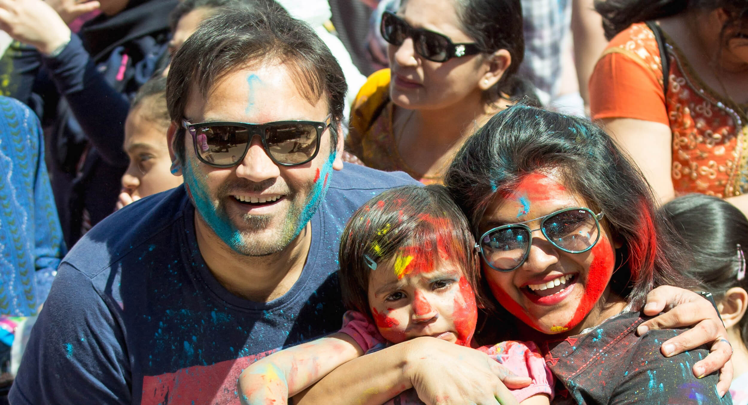Jimmy, Reet, and Saloni having a blast at the HOLI festival in London's own Victoria Park.