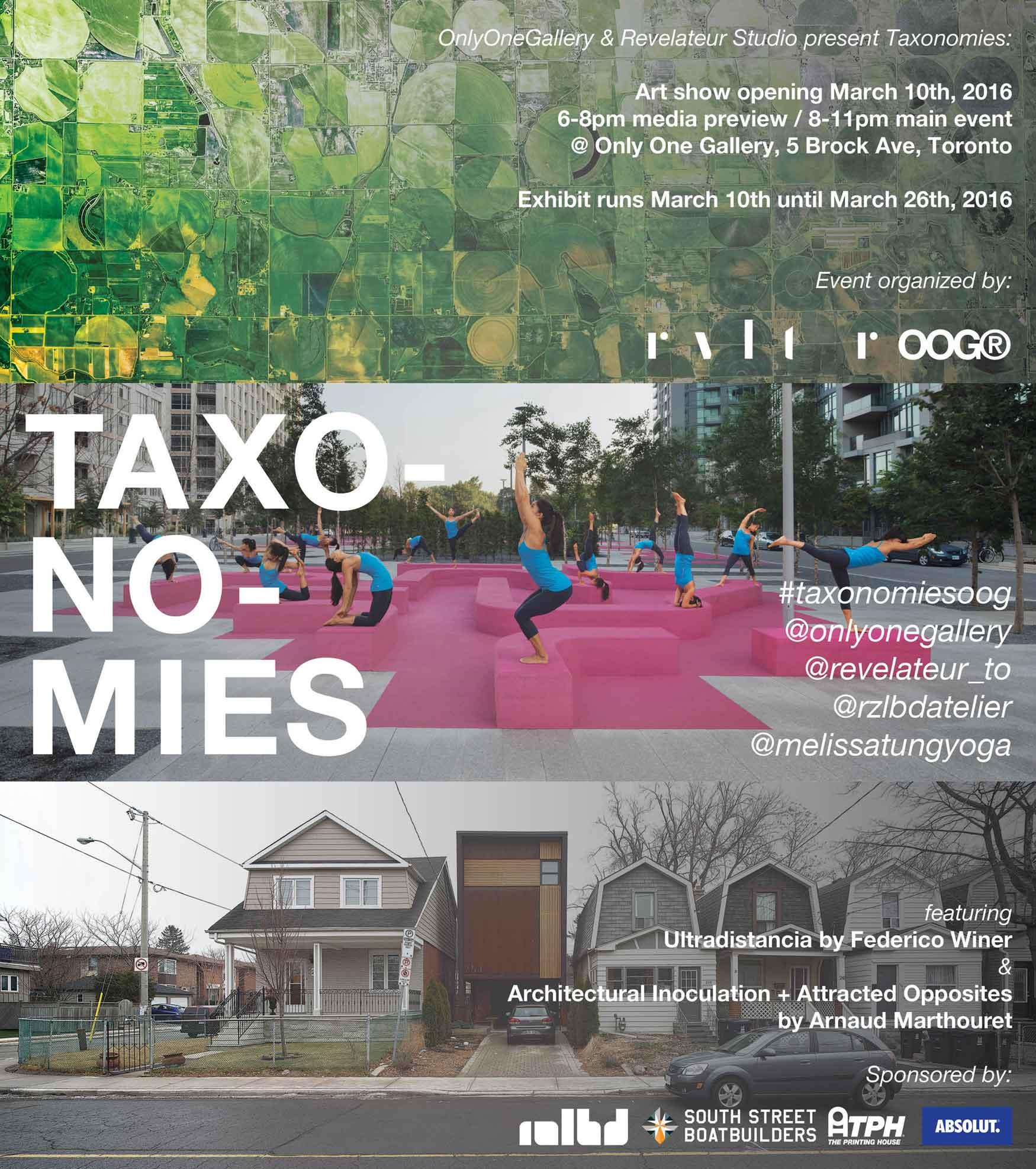 Ultradistancia-Taxonomies Exhibition at Onlyone Gallery Toronto. Flyer