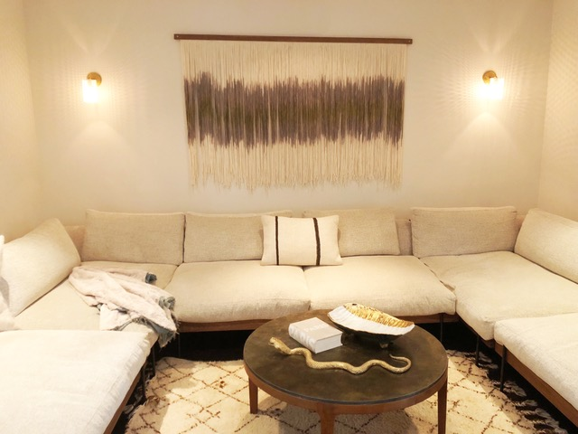 Media Room in Tamar's own home, featuring a Canvas With Movement® tapestry.
