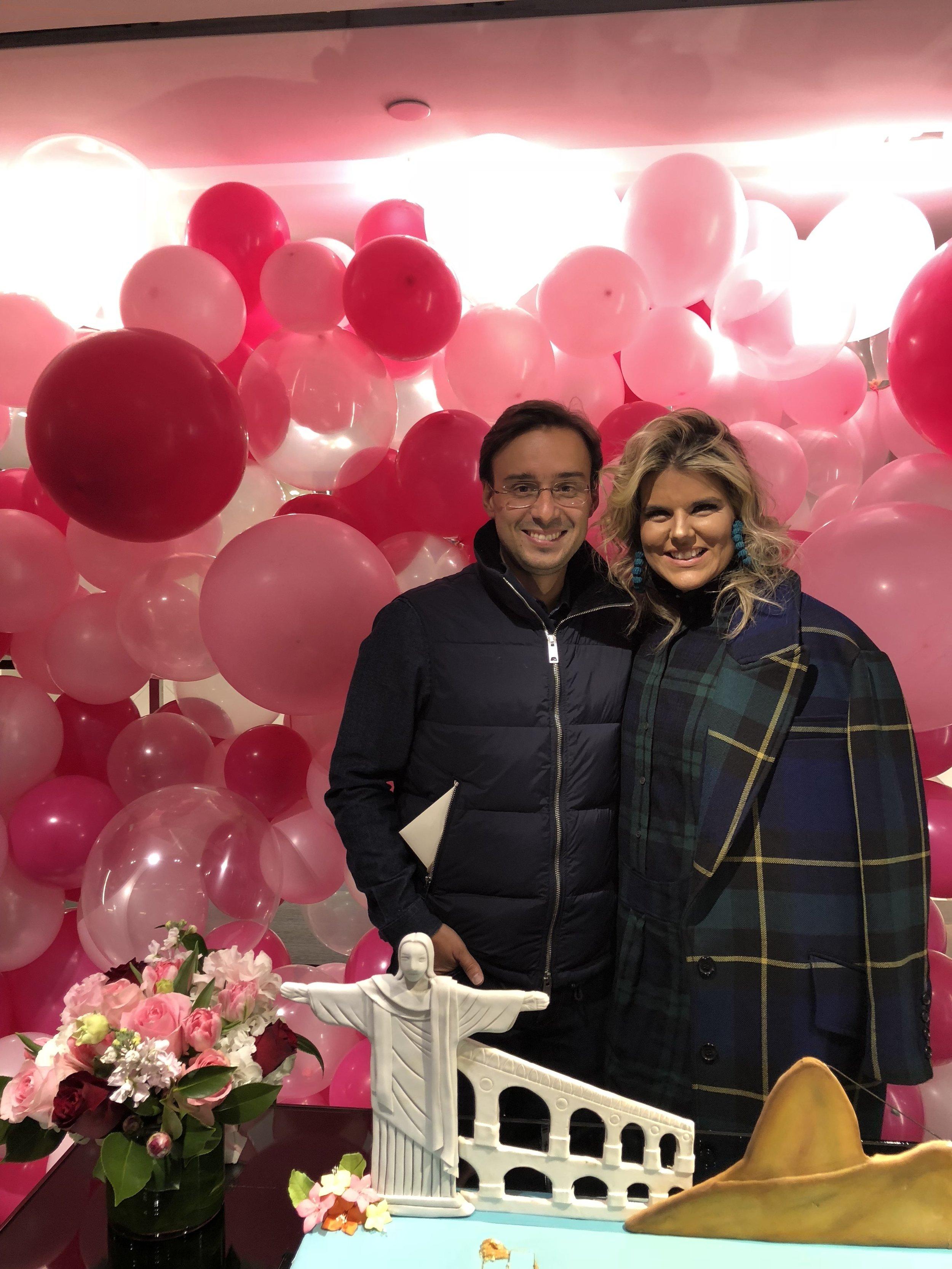 Nana Cunha and her husband, Lucas Lira, at Burberry Flagship New York