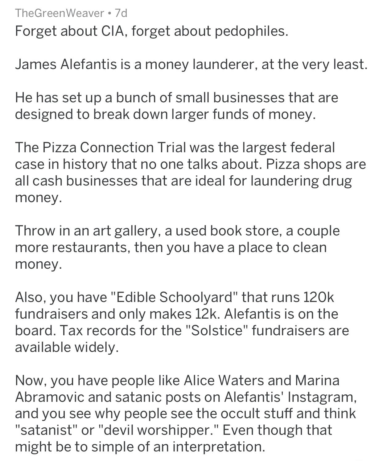 One opinion about James Alefantis, John Podesta, et al