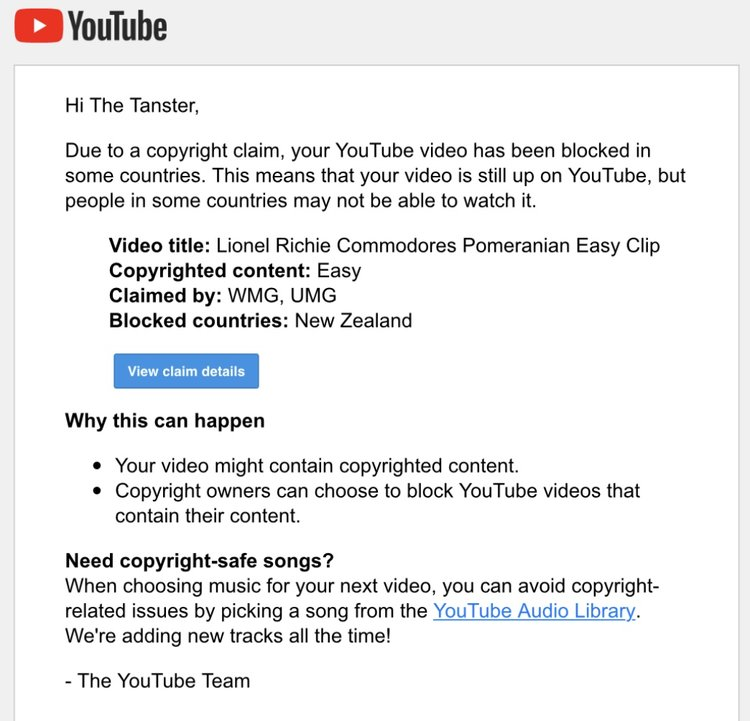 Yet another YouTube video is blocked  — The Tanster