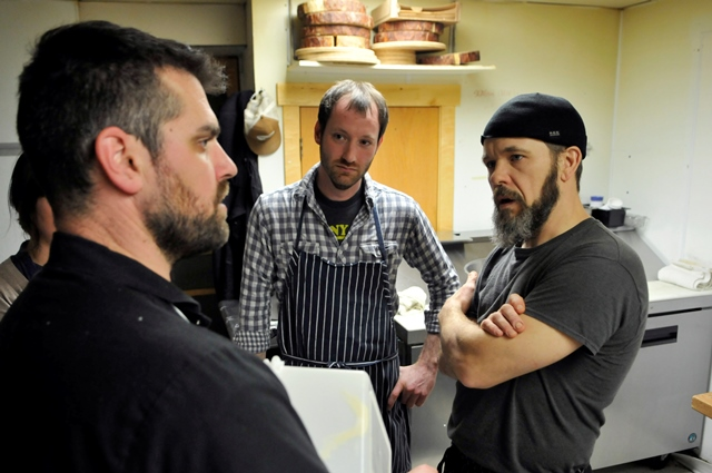 From left to right, chefs Luke Zahm (Driftless Café), Kevin Micheli (Charmant) and Anthony Swartwout (The Mint).  Photo by Jim Klousia.