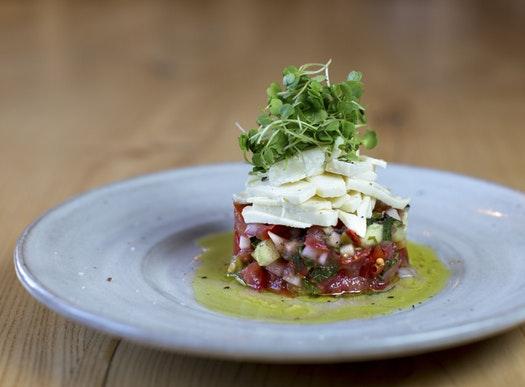 Gazpacho topped with house-made mozzarella.  Photo by Courtney Pedroza