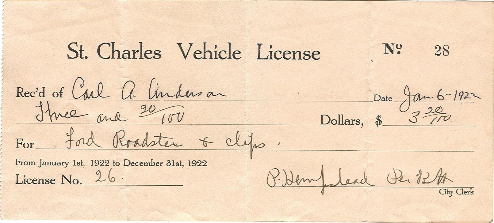 1922 Vehicle License