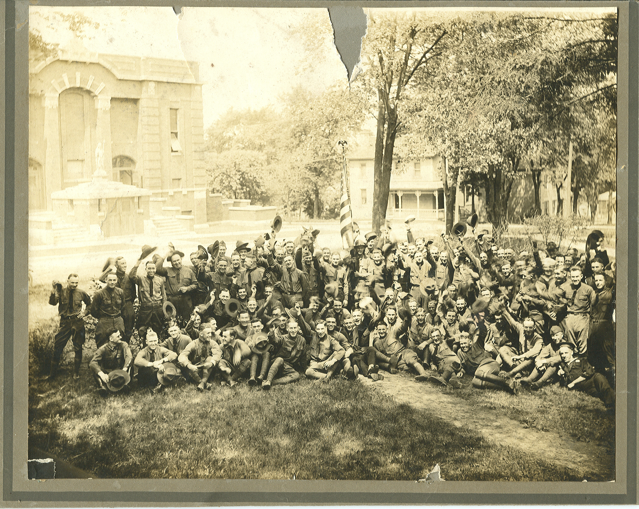 WWI Soldiers Outside of St. Patrick's Church May 31, 1920