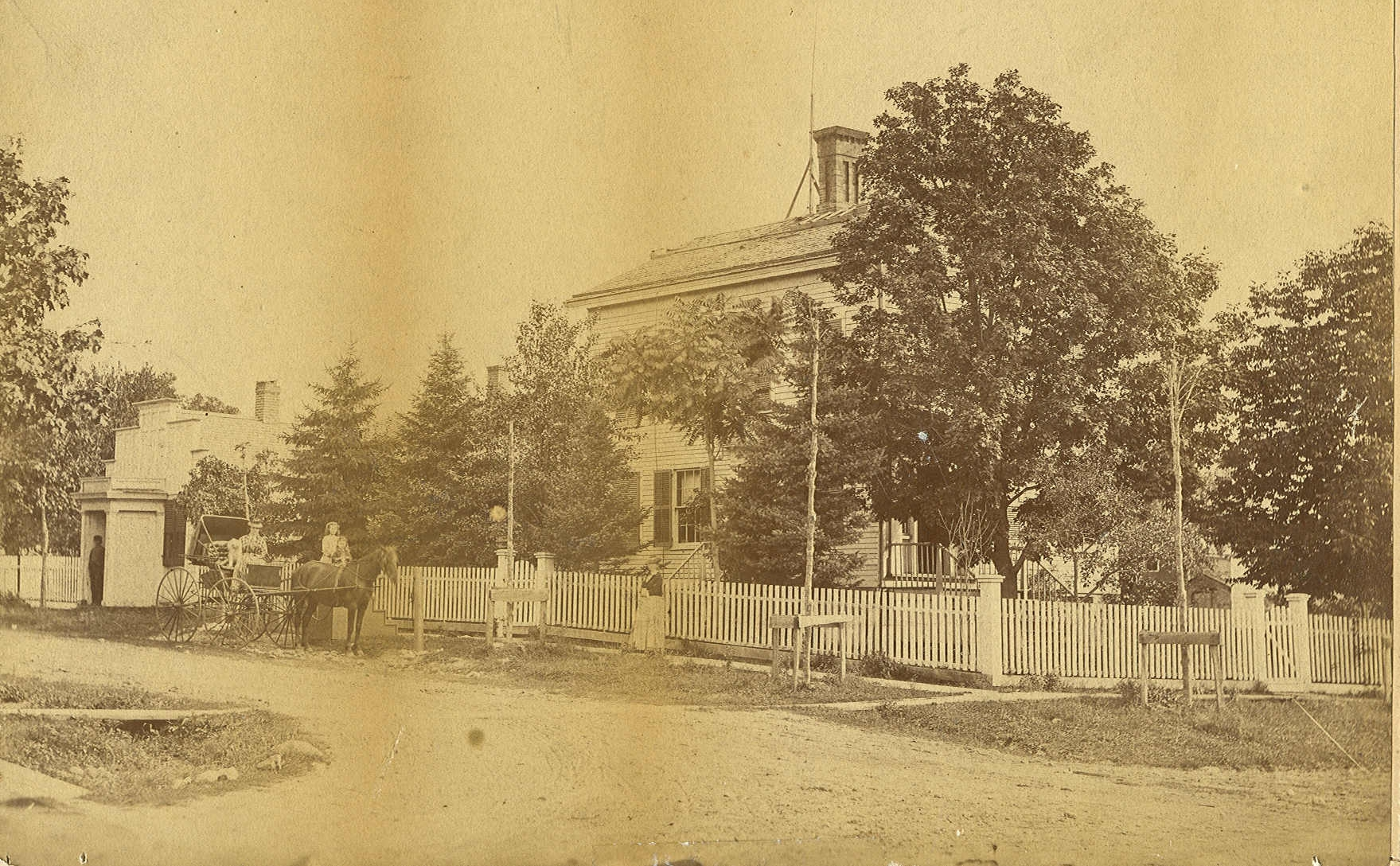 Steven Sandborn Jones and his wife, Lavinia Camp Jones, moved from Vermont to St. Charles in 1838 and built this house in around 1843. 504 E. Main Street.