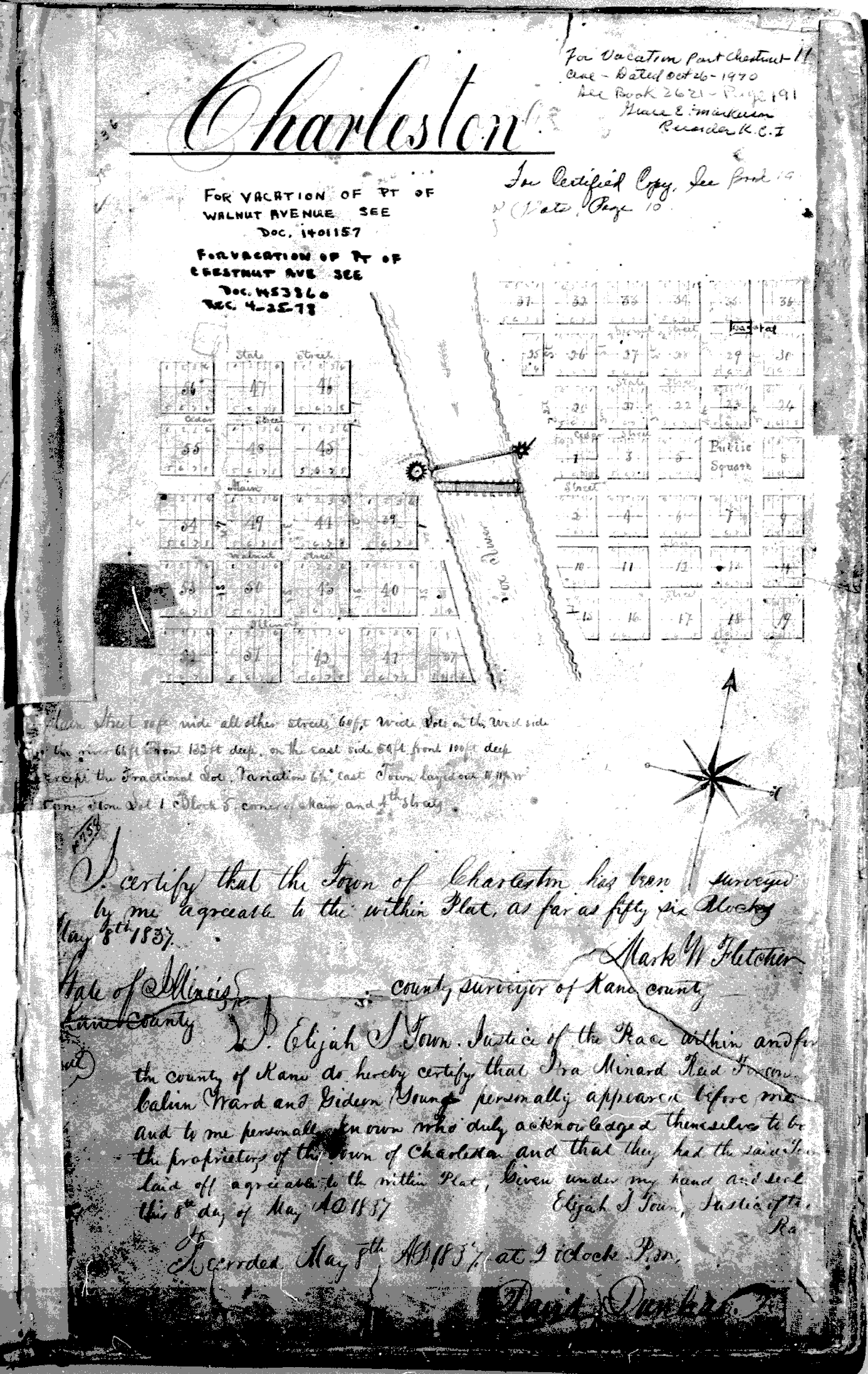 Original Plat of Charleston, c.1835, courtesy of the Kane County Recorder's Office.
