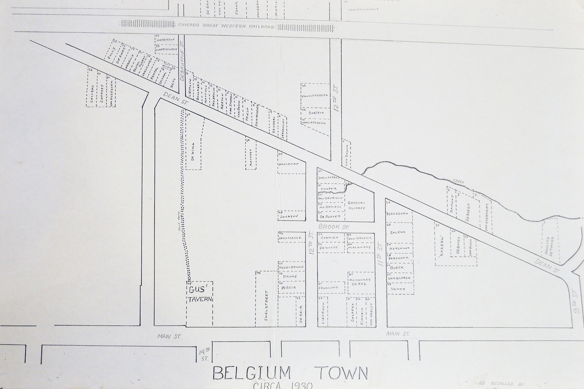 Belgium Town Map, c. 1930.