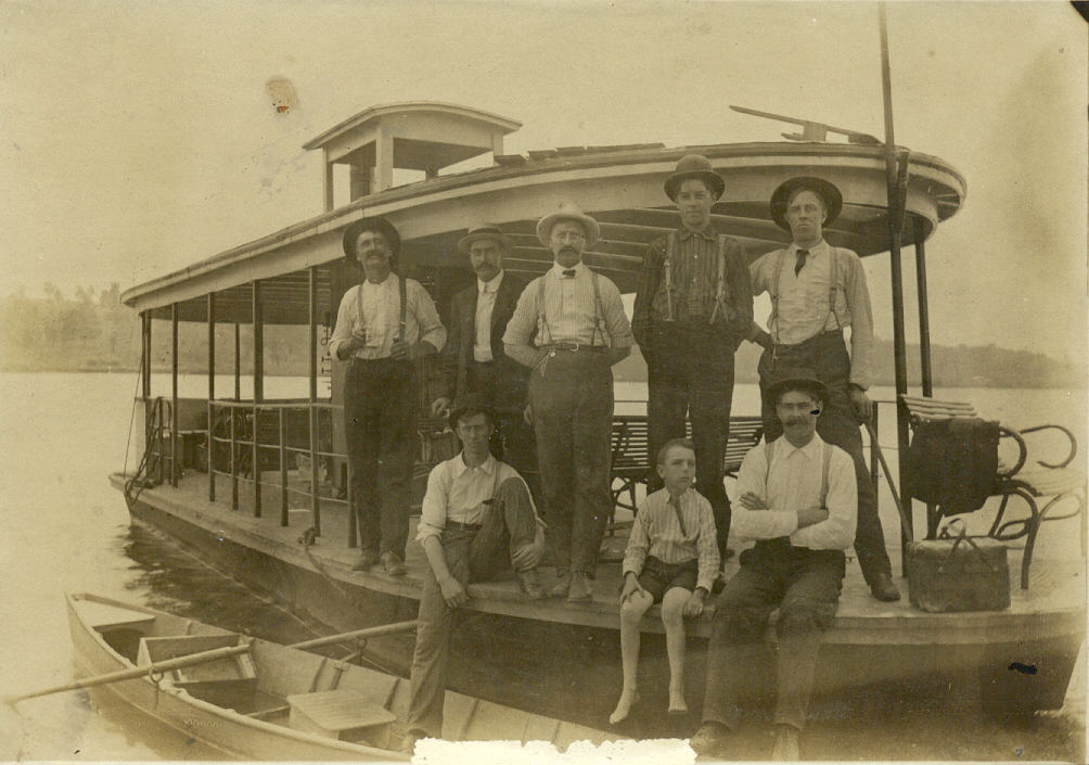 The first commercial boat on the Fox River,  S.S. Pacific,  pictured at Pottawatomie Park Circa 1910