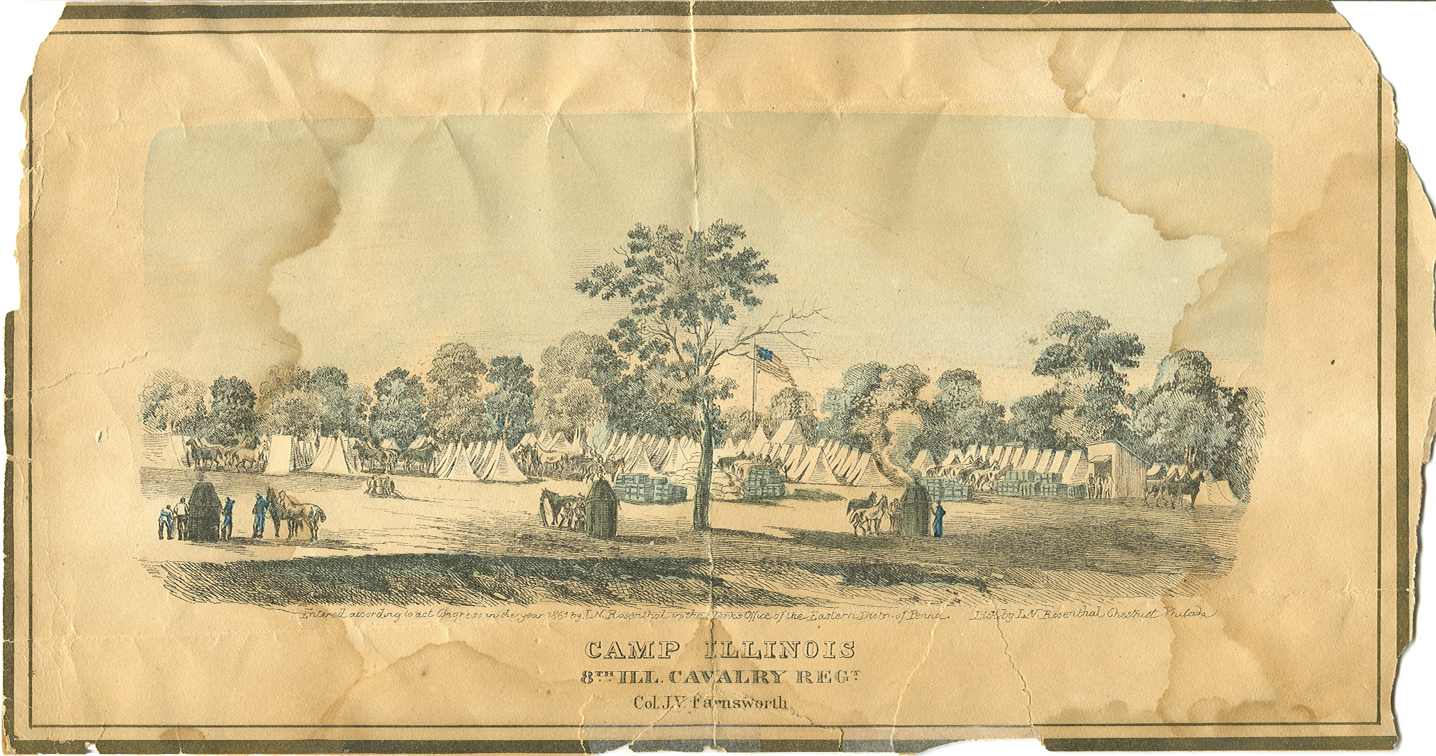 Line Drawing of Camp Kane, St. Charles History Museum Collection.