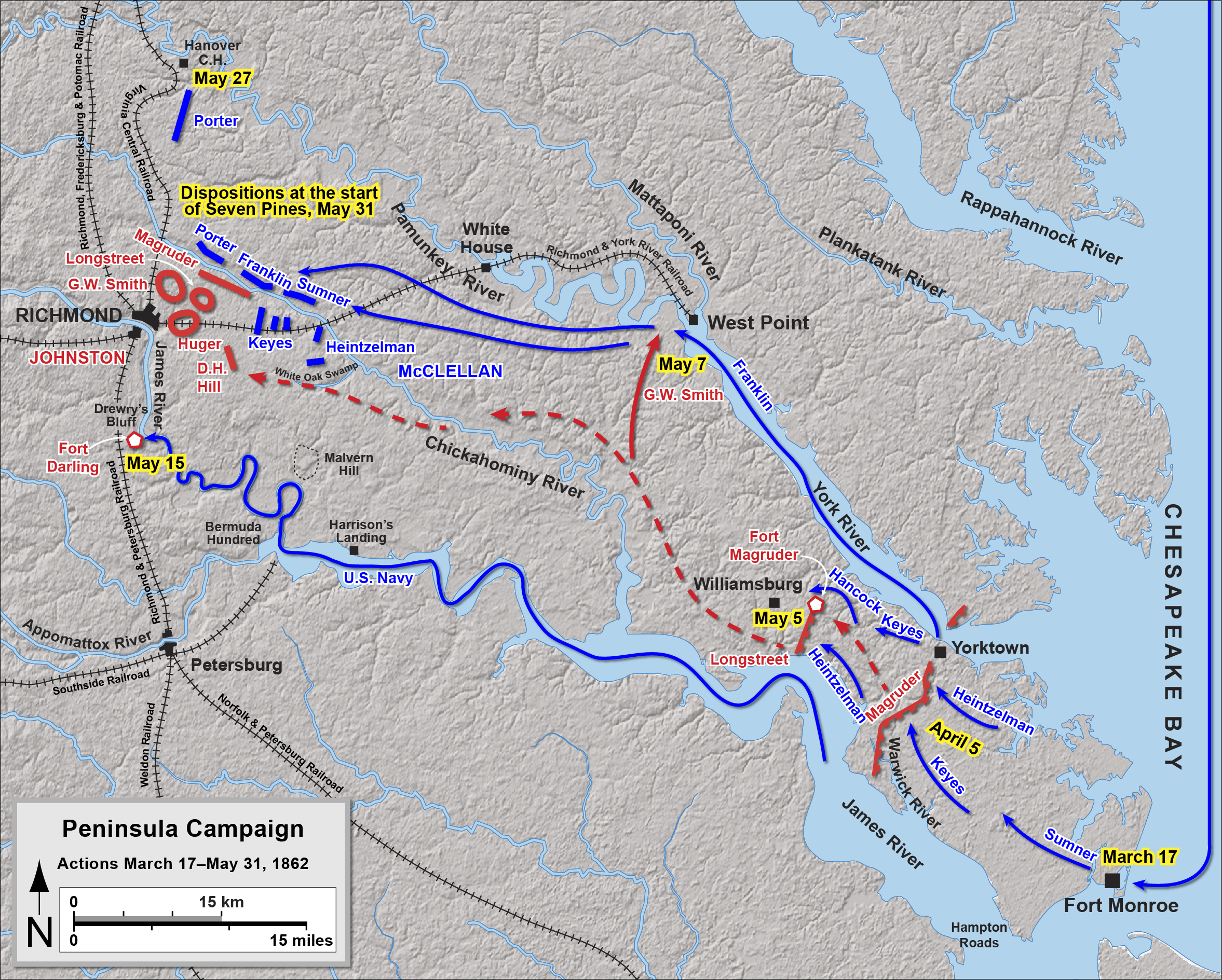 Map of the  Peninsula Campaign  up to the  Battle of Seven Pines .  Drawn by Hal Jespersen in Adobe Illustrator CS5. Graphic source file is available at    http://cwmaps.com/