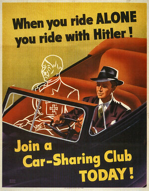A famous U.S. Government poster promoting rationing of fuel consumption