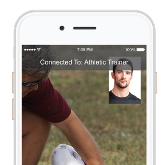 Healthy Roster video chat with athletic trainer