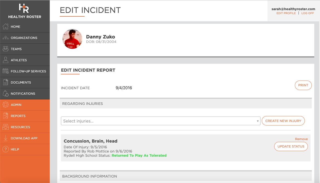 Edit Incident Report