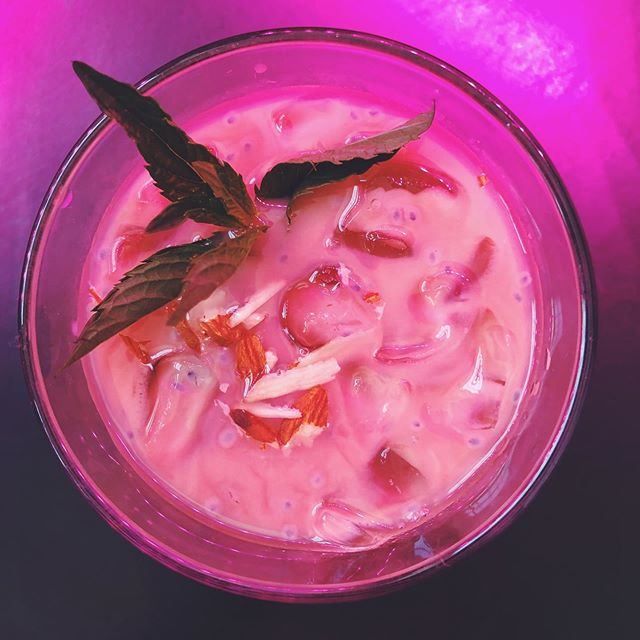 EID MUBARAK  come drink this iced faluda chai with me @nightingalecinema ♥️ In fucking awe of the work @zulfikaralibhutto @thesalamanderchicago @thefawz @hermajestysuranus @ladansiad do and i can't wait to share it with you