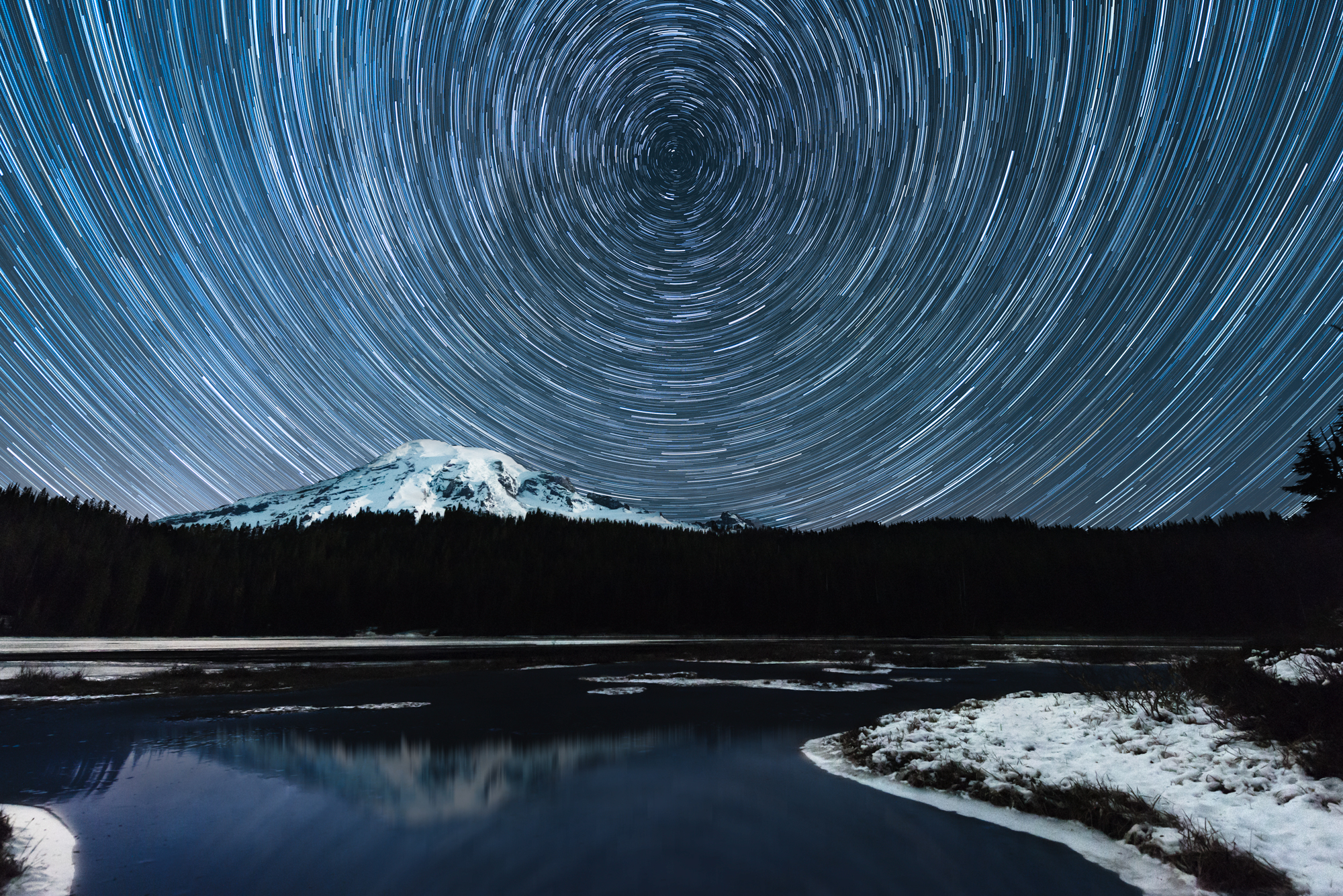 (Click image to enlarge)  Starry Night at Reflection Lake  Mount Rainier, Paradise, Washington  20x30  High gloss metal print with custom shadow mount and hanging wire.