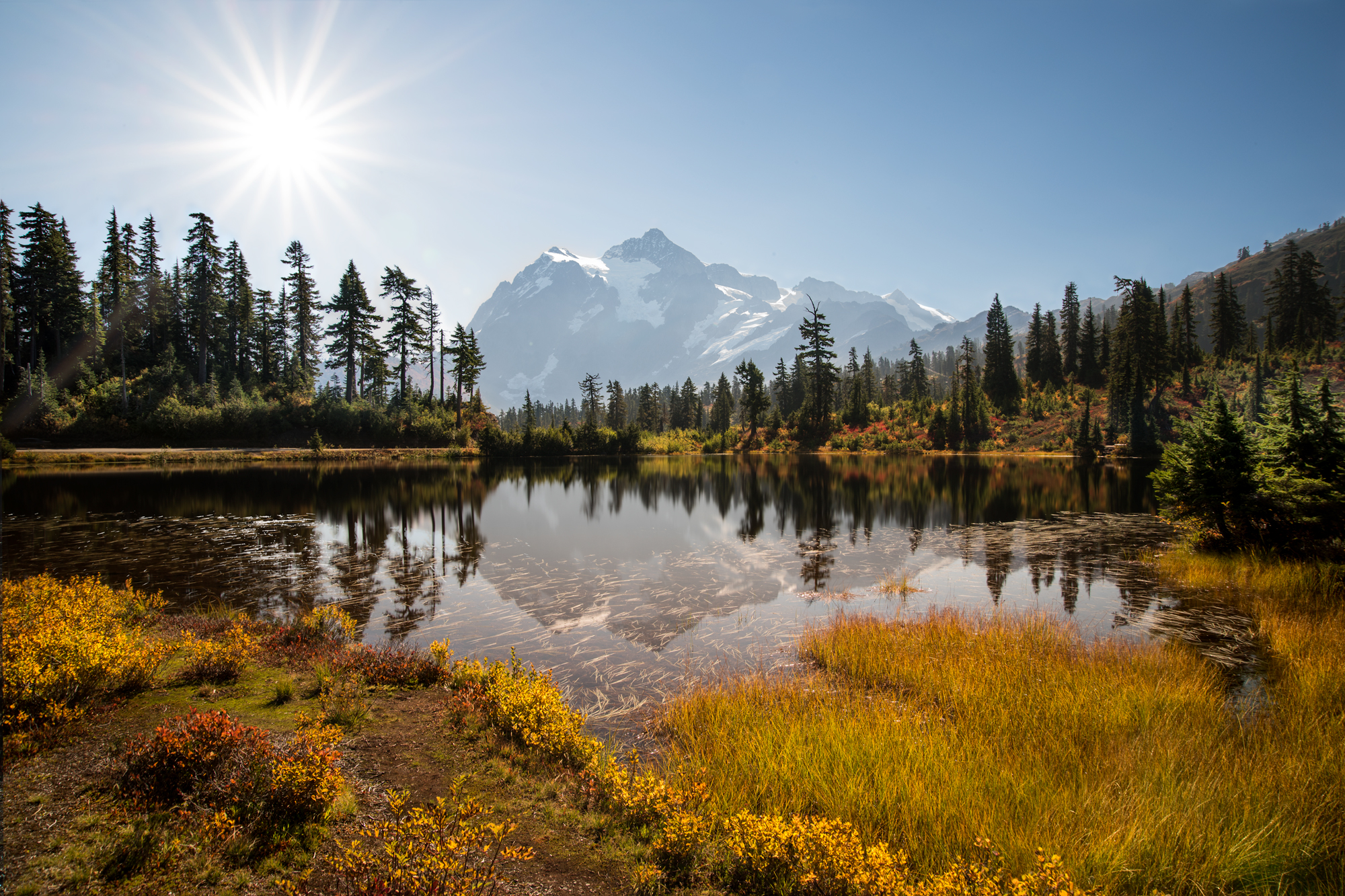 (Click image to enlarge)  Sunrise over Mount Shuksan  Picture Lake, North Cascades, Washington  12x18  High gloss metal print with custom shadow mount and hanging wire.