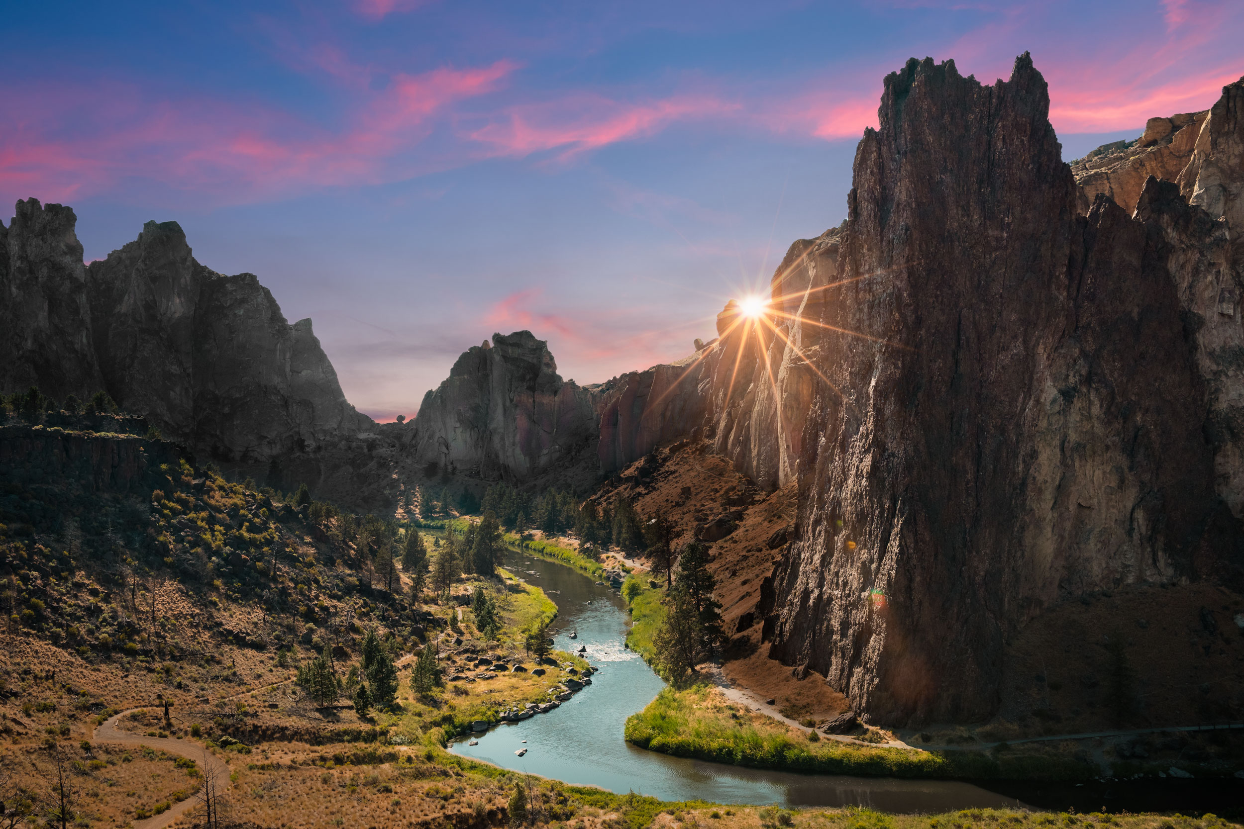 (click image to enlarge)   Sunset at Monkey Face  | 12x18 | high gloss metal print with hand made shadow mount  2017 Total Solar Eclipse Road Trip, 1 of 3 | Smith Rock State Park, Oregon